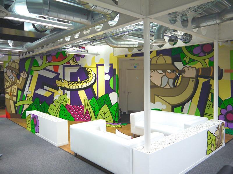 Décoration, intérieure, graffiti, art, couleurs