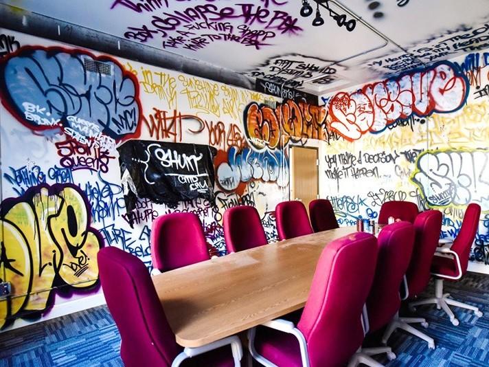 graffiti, street art, salle, réunion, décoration.