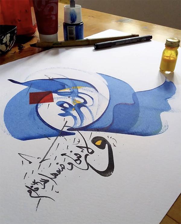 calligraphie, orientale, arabe, encre, bleu, moderne