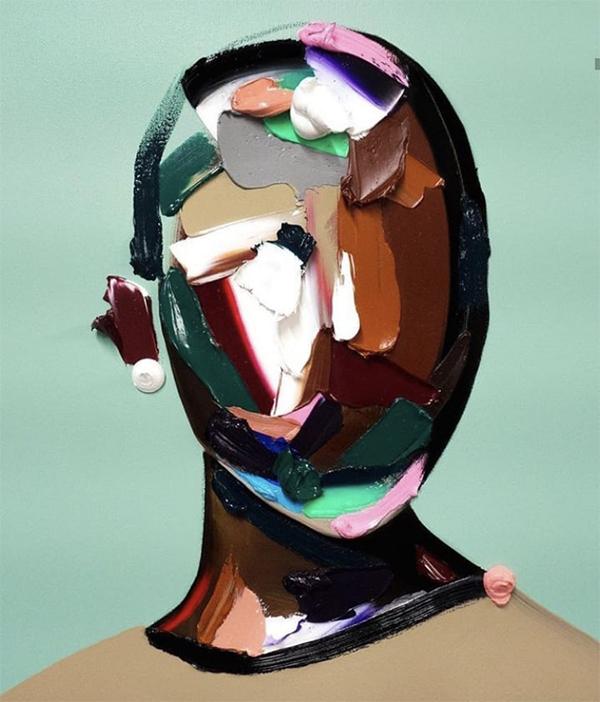 portrait, abstrait, original, graphisme, peinture
