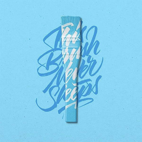 calligraphy, brush, pinceau, hand lettering, bleu