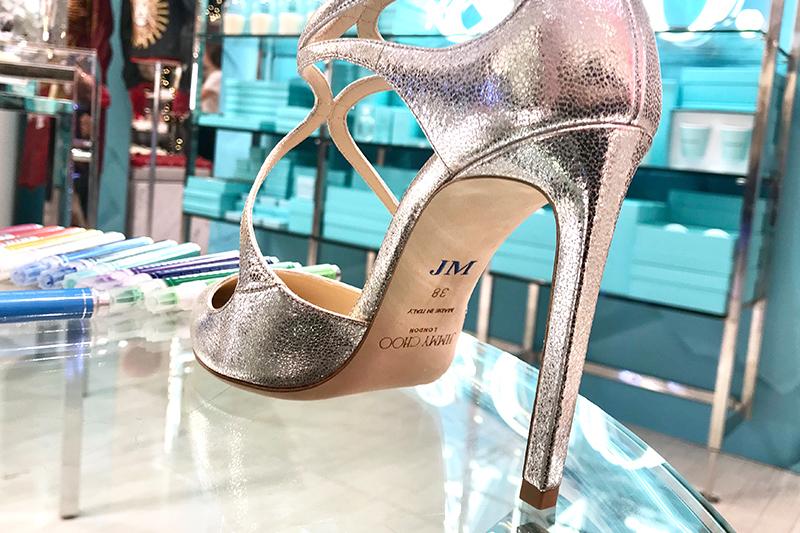 Monogramme, exemple, commande, chaussure, cliente