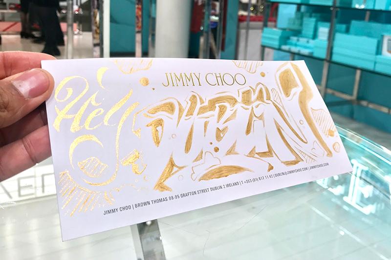 Dessin, doré, boutique, Jimmy Choo, papier