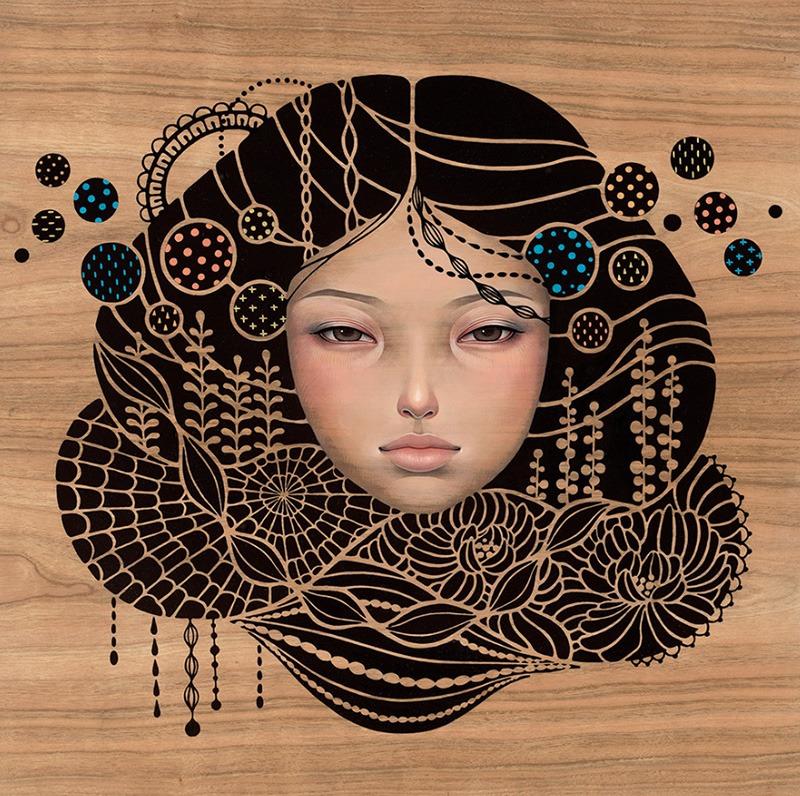 Portrait, femme, asiatique, planche, bois