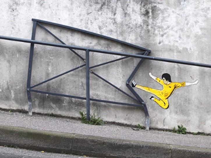 Bruce lee, graffiti, street art, détournement