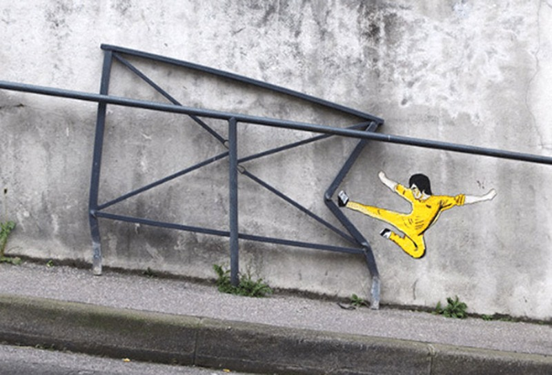 Bruce lee, graffiti, street art, détournement