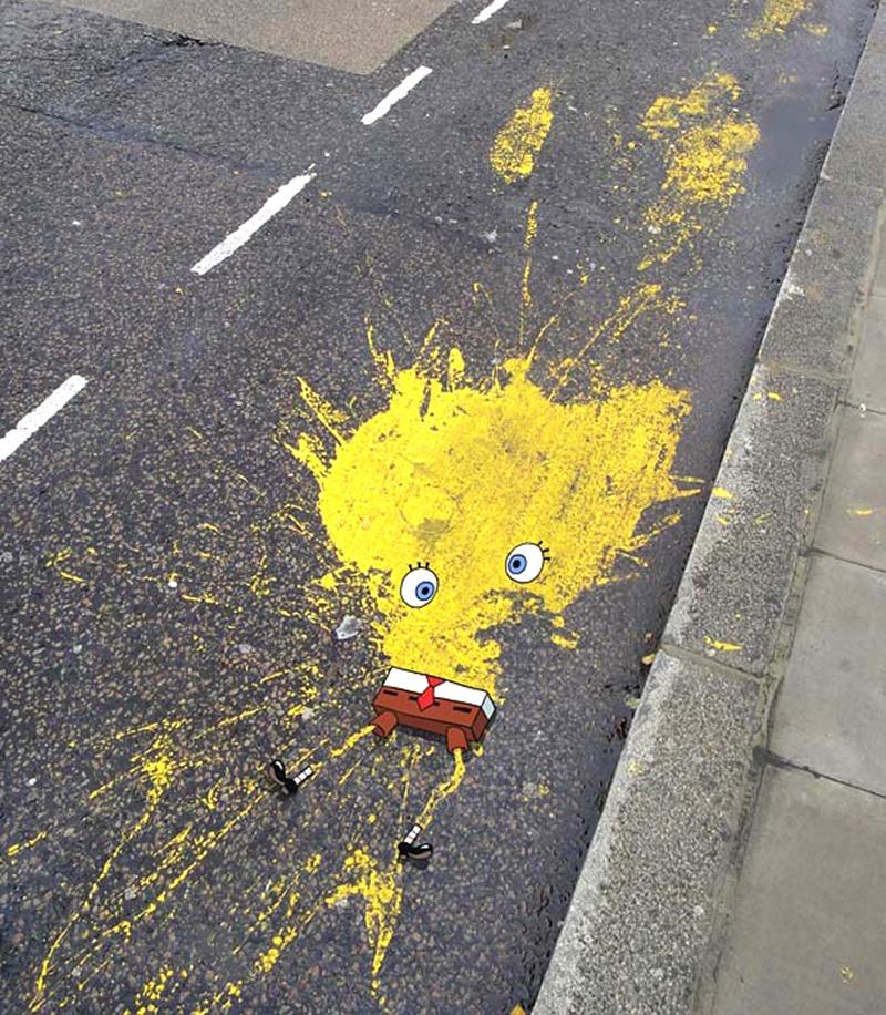 Bob éponge, détournement, street art, graff, fun, lol, drôle