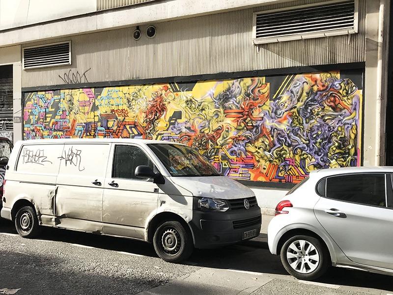 Composition, abstraite, belleville, paris, graffiti, street art