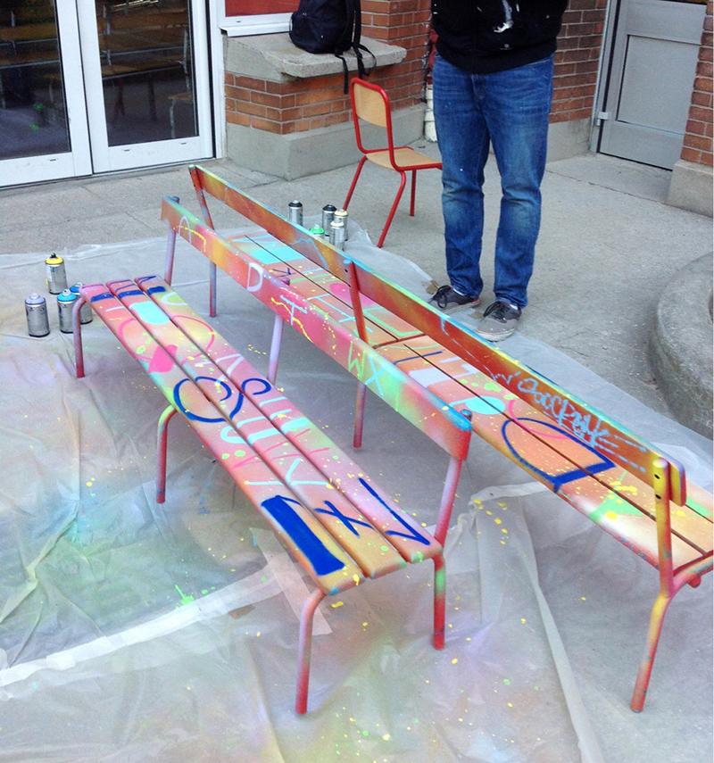 bancs, street art, objet, école, symbole, personnalisé, couleurs