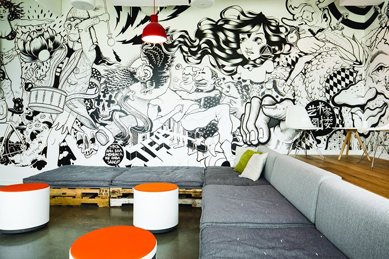 Illustration, mur, noir et blanc, art, graffiti