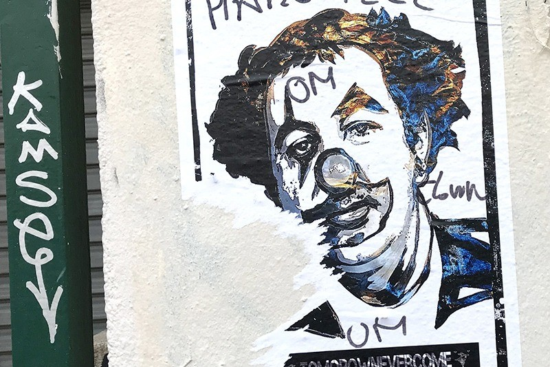 Affiche, Clown, Coluche, Paris, Street art, parisien, affichage