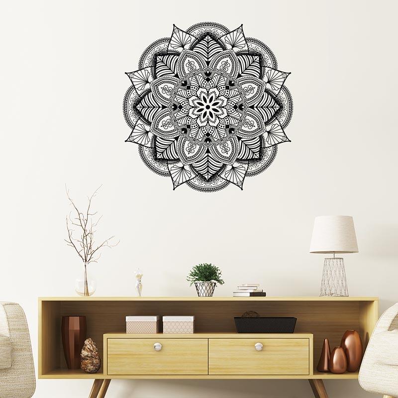 Motif, mandala, noir et blanc, décoration murale.