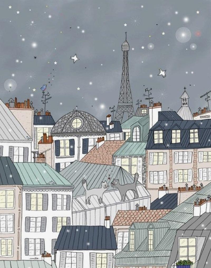 Illustration, paris, nuit, art, dessin, poésie, chat, toits