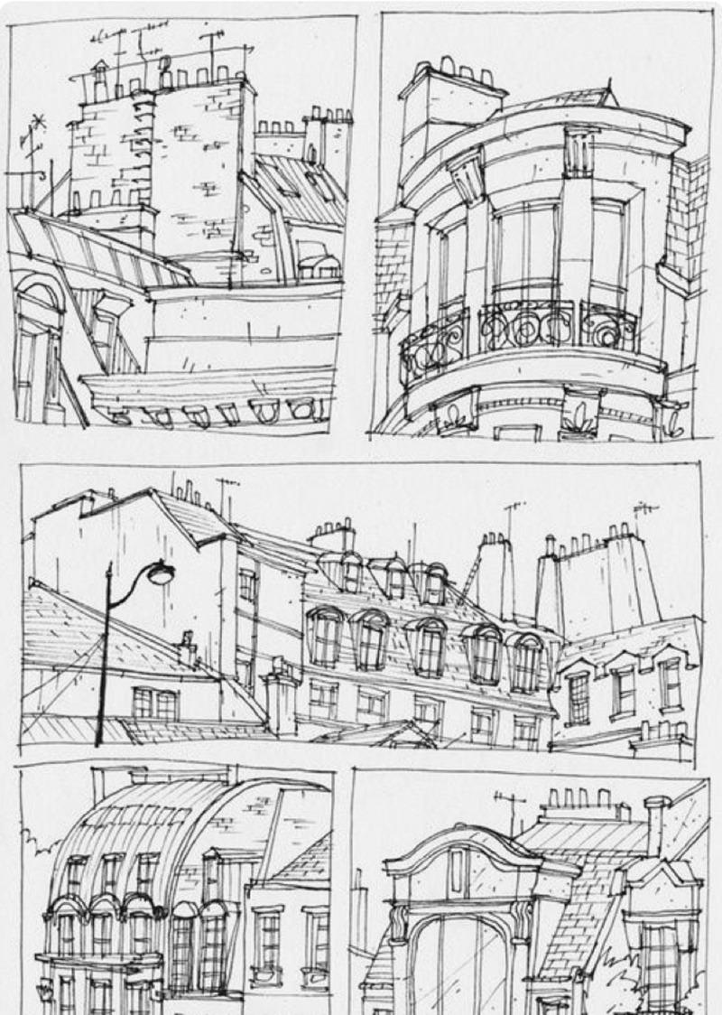 Croquis, illustration, toits, Paris, dessin, noir et blanc