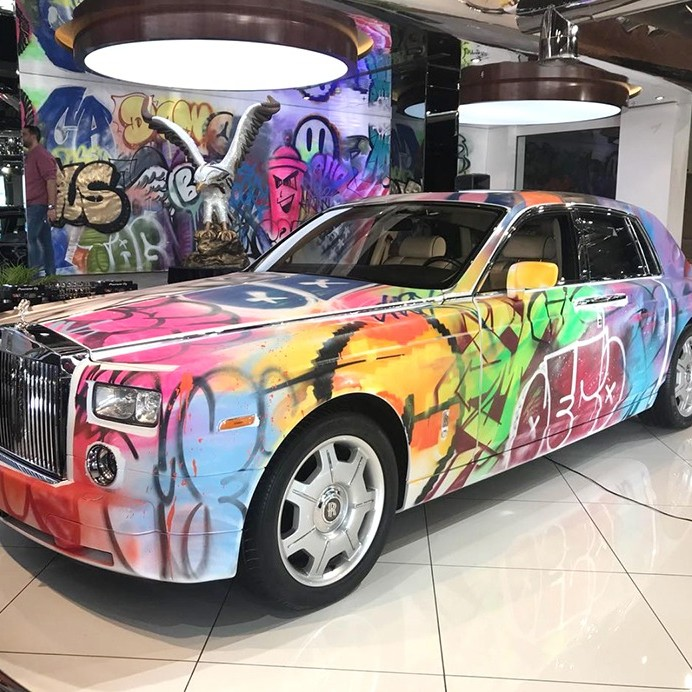 Rolls Royce, graffiti, street art, voiture, art
