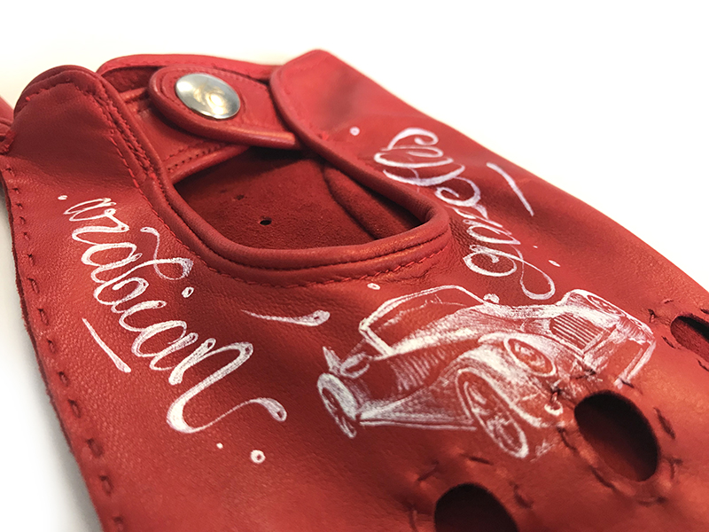 gant, personnalisation, cuir, art, rouge, luxe