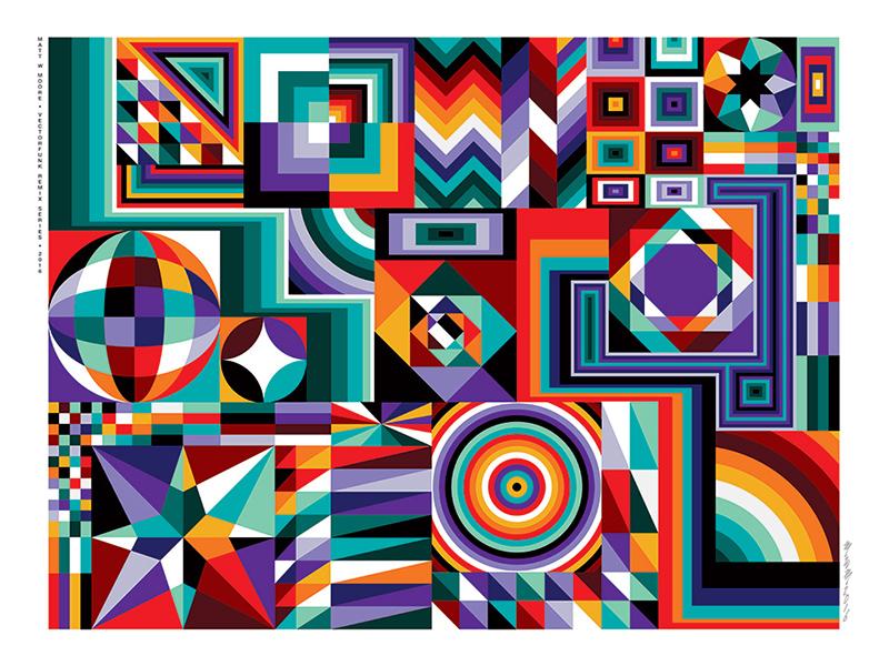 art , pop géométrie, multicolore abstrait et graphique