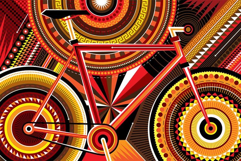 vélo bicyclette, géométrique, graphique art