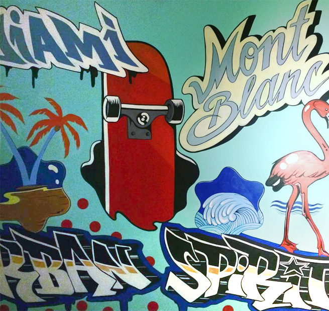 Fresque, montblanc, flamant rose, skate, urban