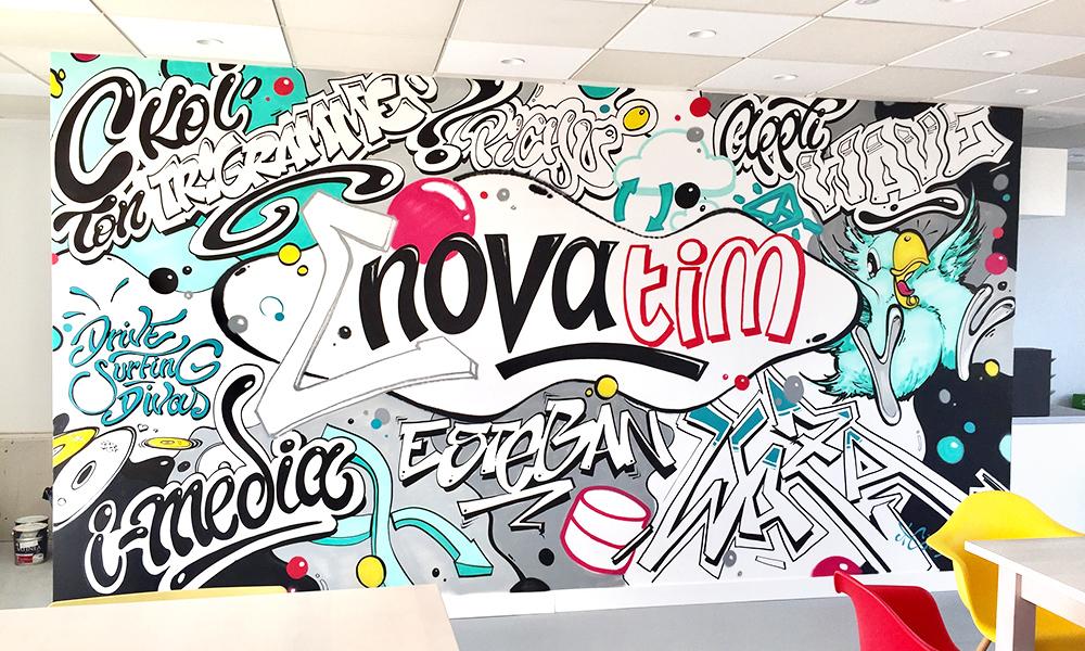 Vue d'ensemble de la fresque, Novatim, déco, graffiti, art, espace détente, agence, paris, street art