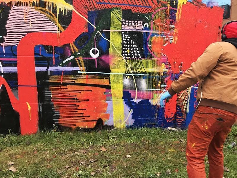 Fresque, abstraite, street art, Graffiti