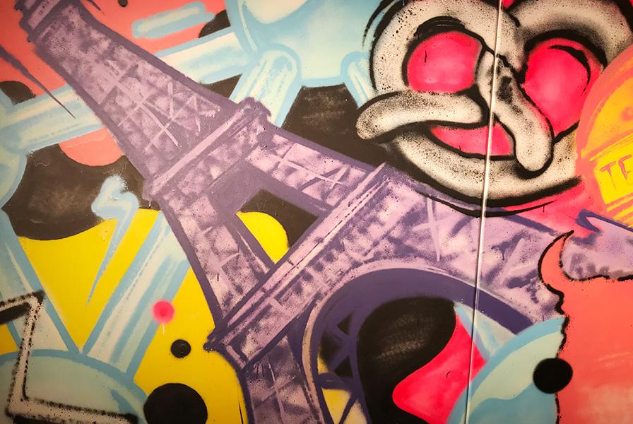 Bretzel, graff, tag, graphe, Atomium, couleurs