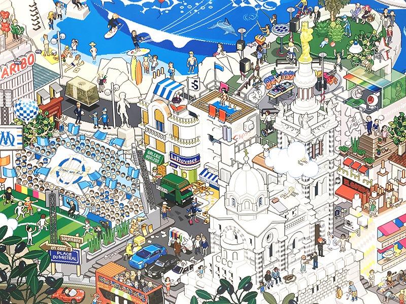 Illustration, geek mais chic, pixel art, Bon Marché, Rive gauche