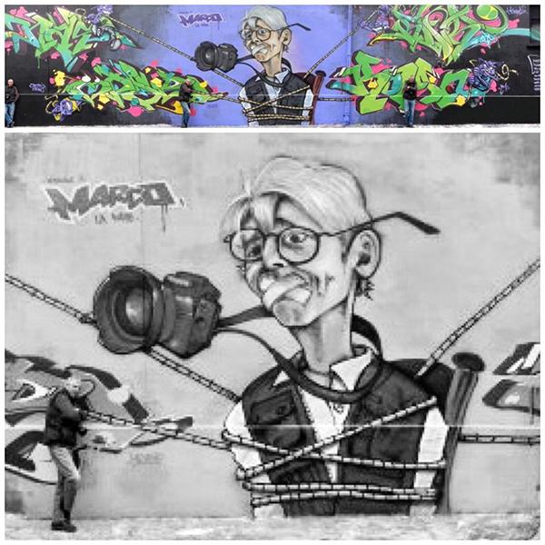 Marco, hommage, photo, graffiti, chat noir