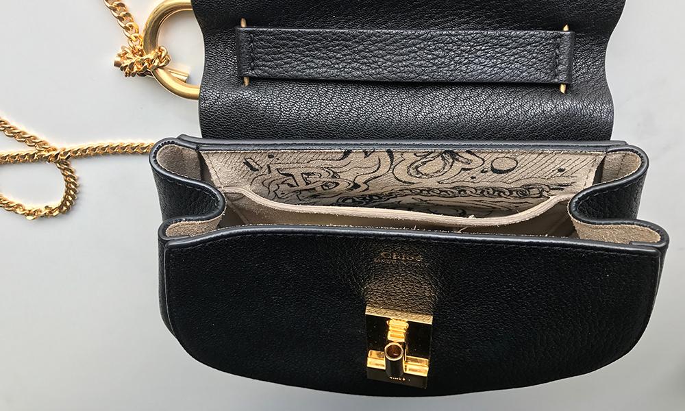 pochette intérieur sac, maroquinerie, noir et blanc