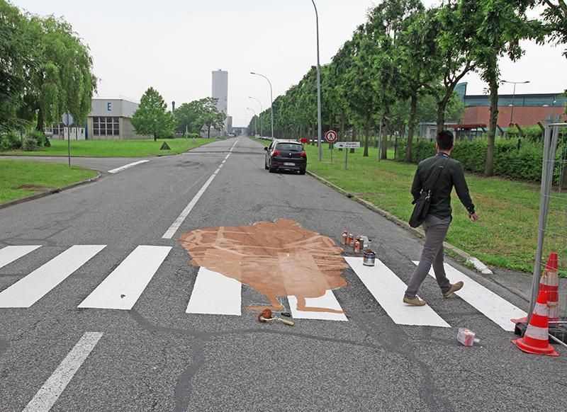 Passage, piéton, lyon, safran, sécurité routière, graffiti, trompe l'oeil