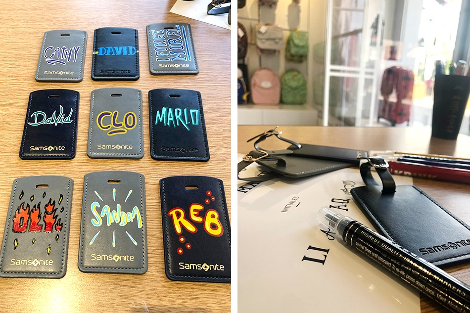 personnalisation, custom, etiquette, bagage, cuir, samsonite, Roubaix, personalisateur, Paris