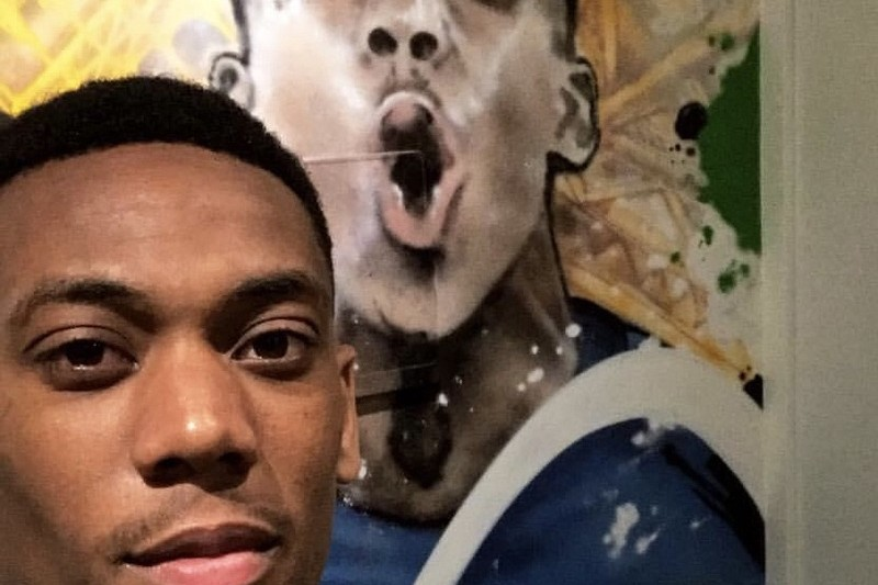 Selfie d'Anthony Martial, footballeur, photo, portrait, graffiti, street art