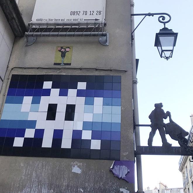Mosaïque, space, invaders, street art, paris