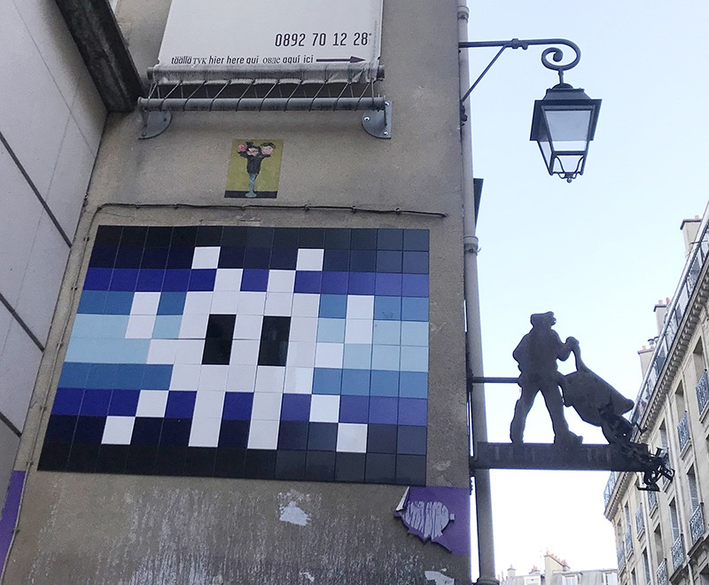 Mosaïque, space, invaders, street art, paris