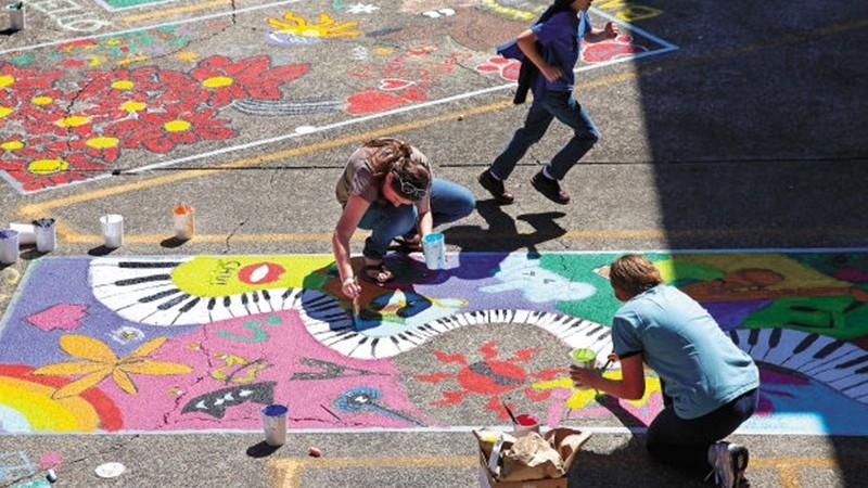 Jeunes, artistes, décoration, sol, art, USA, couleurs, street art