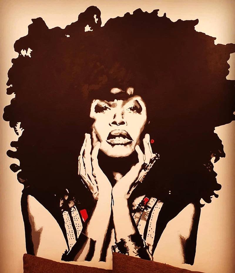 Portrait, femme, noire, black woman, Afro, street art