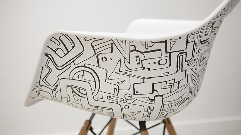 chaise, Eames, personnalisation, abstrait, habillage