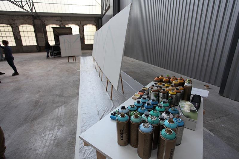 Team, building, Veolia, toile, bombes, graffiti