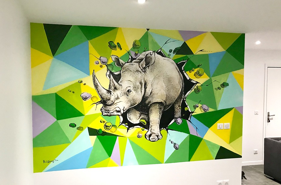 Rhinoceros, déco, graff, Art, tags, paris, tagueur