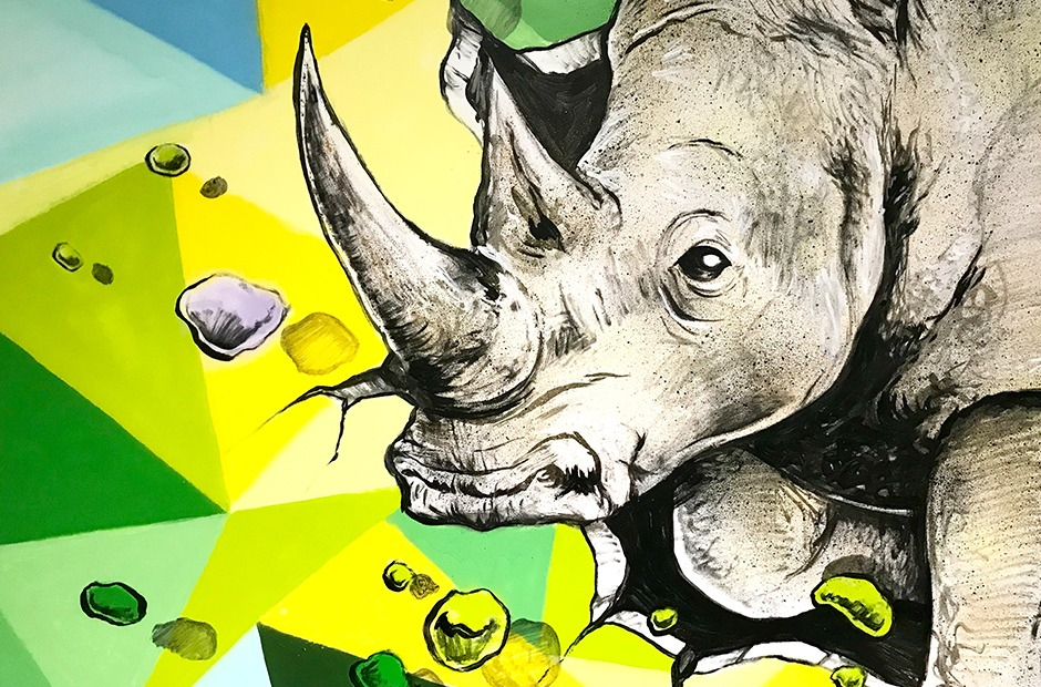 décoration, rhinoceros, paris, fresque, murale, Paris, Street Art