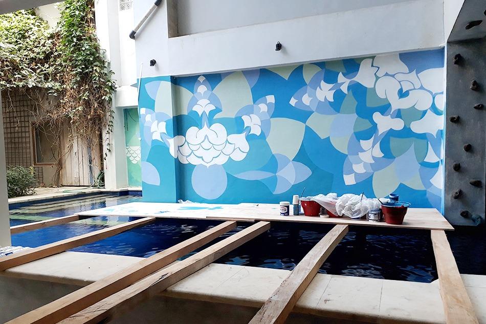 Art, décoration, professionnel, habillage, mur, abstrait, motif, couleurs