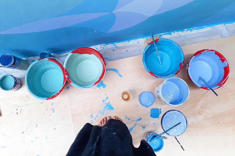 fresque, décorative, hotel, piscine, peinture, acrylique, femme