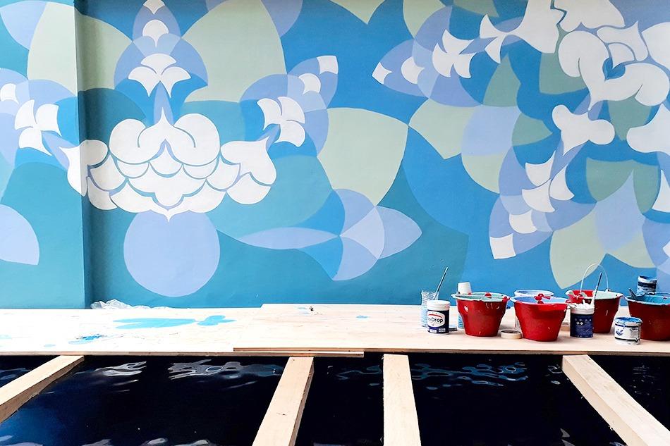 décoration, graffiti, street art, hotel, indonésie, artiste, piscine, abstrait
