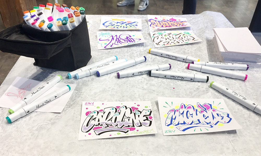 soirée, animation, stand, poste de travail, artiste intervenant graffiti professionnel.