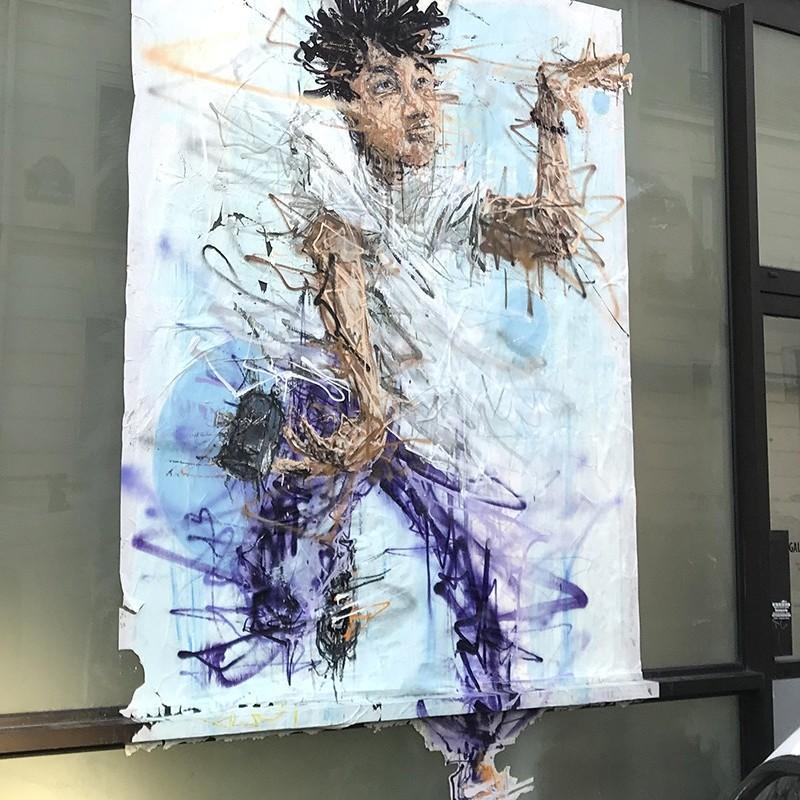 personnage, graffiti, affiche, paris, street art