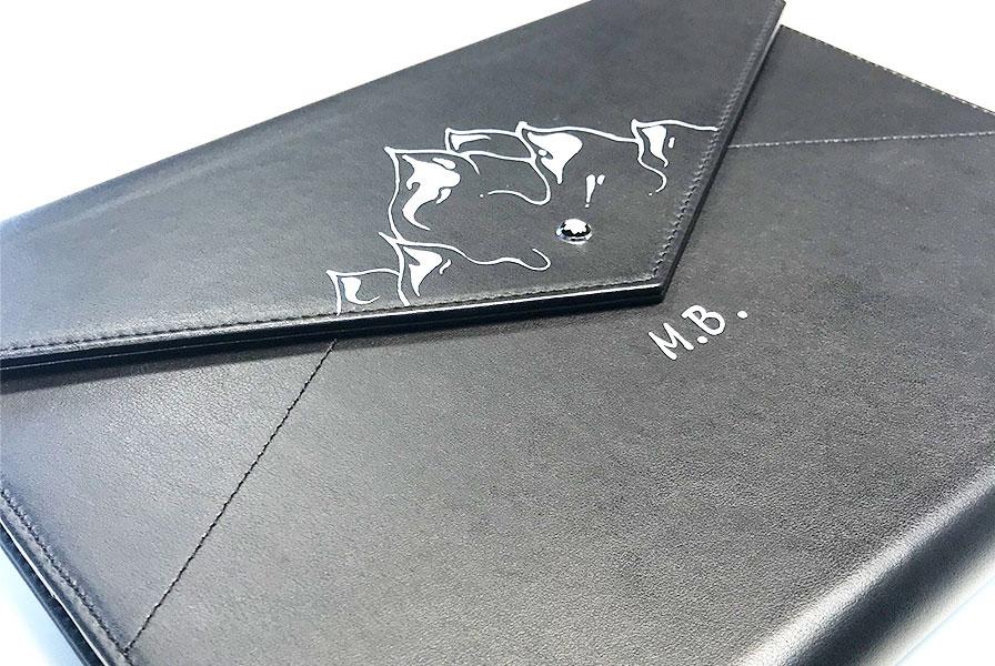 illustration, noir et blanc, Montblanc, cuir, personnalisation, art, custom