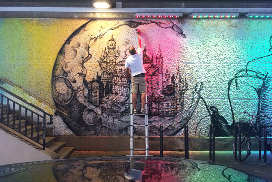 graffeur, street artiste, graffiti, parisien, live