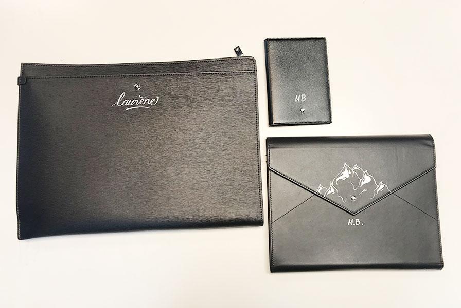 pochette, noire, portemonnaie, augmentes paper, produits, mont-blanc, luxe