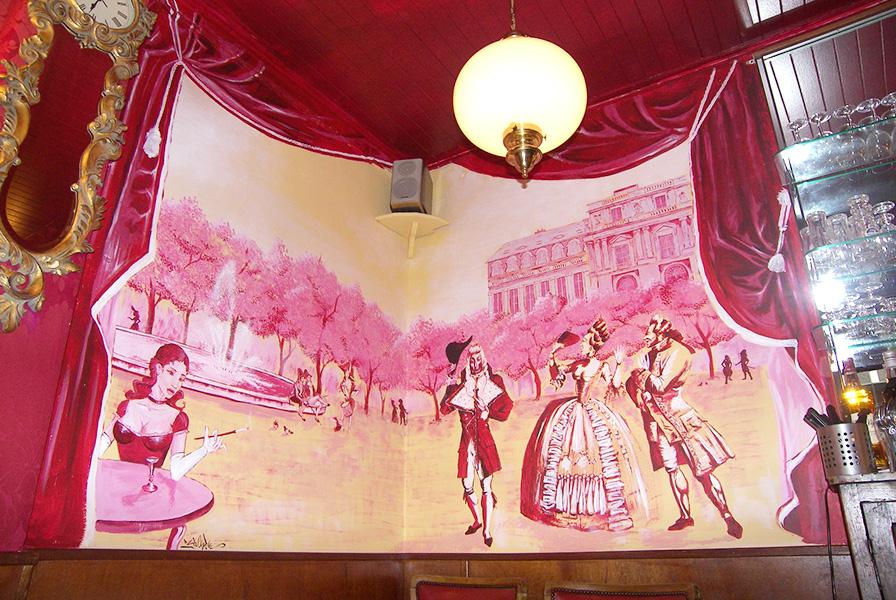 Paris, décoration, fresque murale, trompe l'oeil
