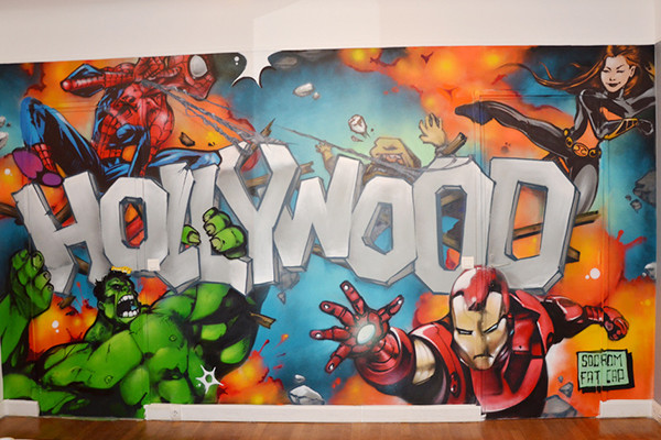 mur enfant, marvel, comic, tag, graph, graffiti